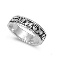 925 Sterling Silver Claddagh Hieroglyphics Design Ring