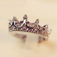 Queen's Silver Crown Rings For Women Punk Brand Fashion