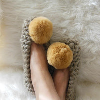 Super Chunky Wool Slippers, Pale Brown Pom-Pom Slippers, Womens House Slippers, NON-SLIP slippers, House shoes, Ballet Flats, Gift Wrapping