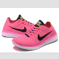 Nike free RN flynit running sneakers Sport Casual Shoes Sneakers Pink black hook