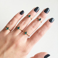 Green Drop Ring Set