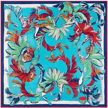 POBING 100% Silk Women Scarf Indian Bird Feather Print Neckerchief Square Scarves Spanish Foulard Silk Hijab Lady Bandana 130CM