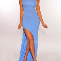 Nina Ribbed Maxi In Orange And Blue