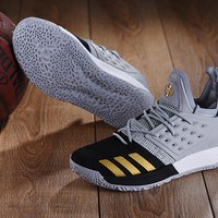KUYOU A147 Adidas James Harden Vol.2 Boost Training Basketball Shoes Grey Black Gold