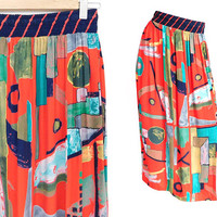 Sz S 80s Colorful Abstract Print Column Skirt - Vintage Women's Long Side Slit Gathered Skirt - Bright Colorful - Red Teal Navy Blue