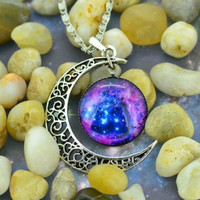 Moon Galaxy Nebula Space Antique Silver Pendant Necklace Friendship BFF Necklace = 1697169476