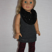 3 piece set! grey tank top, floral print leggings, black sequin infinity scarf , 18 inch doll clothes, American girl, Maplelea