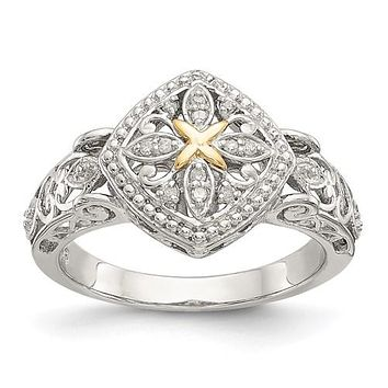 Sterling Silver w/ 14k Gold Accent Filigree Diamond Ring