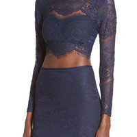 Missguided Scalloped Lace Crop Top | Nordstrom