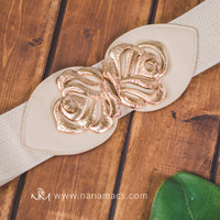 Cream & Gold Leaf Stretch Belt