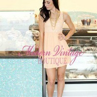 Peaches and Cream  Lace Top Short Dress