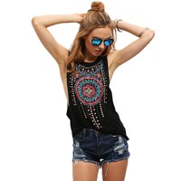Women Tank Top Sexy Camisole Tee Shirt Black Boho Cami Vintage Tribal Printed Sleeveless Vest Beach 2017 Summer feminino Tops