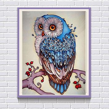 New Owl Diamond Embroidered Mosaic Living Room Decorated DIY Rhinestone Crafts Round Resin Diamond Mural Christmas Gifts YZ447