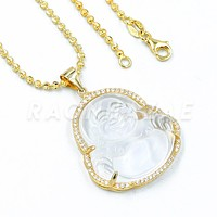 .925 Sterling Silver GOLD Plated Smiling Chubby Buddha (Clear Jade) Pendant w/ Moon Cut Ball Chain
