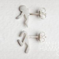 Portal Studs: In One Ear and Out The Other - Portal 2 Inspired Handmade Silver Earrings / Posts