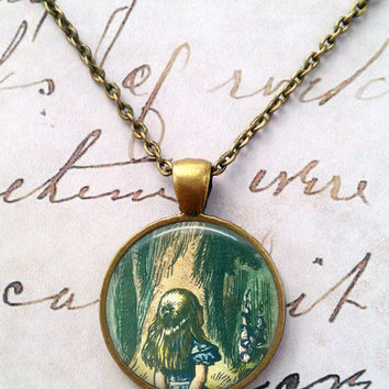 Alice In Wonderland Necklace, Cheshire Cat Pendant, Fairy Tales Jewelry, Classic Literature, Book Illustrations, Once Upon a Time T878