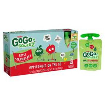 GoGo squeeZ Apple Strawberry Applesauce On The Go Pouches 3.2 oz 12 ct