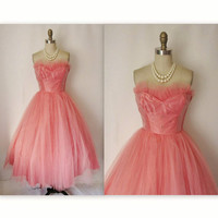 50's Prom Dress // Vintage 1950's Coral Tulle by TheVintageStudio