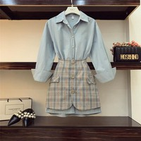 2019 New Fall Women's Lapel Long Sleeve Blue Long Shirt + High Waist Package Hip Plaid Skirt Two-piece Ladies OL Mini Skirts Set