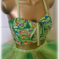 Corset, bandeau top,teenage mutant ninja turtles clothes for women, green, comic con outfit