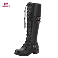 Women Knee-Hight Boots Winter Warm Steampunk Gothic Vintage Style Retro Punk Buckle Military Combat Lace up Boots Female Botas