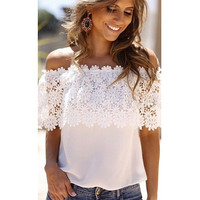 White Off Shoulder Floral Lace Chiffon Top
