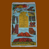 Vintage 1980s Northern Territory Linen Indigenous Locations Tea Towel / Bright Coloured Kitchen Cloth / Uluru / Kata Tjuta / Kangaroos