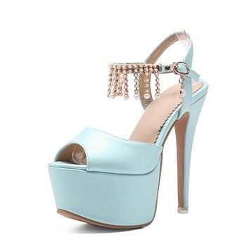 Pearls Tassel High Heels Platform Sandals Summer Shoes 9359