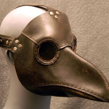 Plague Doctor's mask in black leather by TomBanwell on Etsy