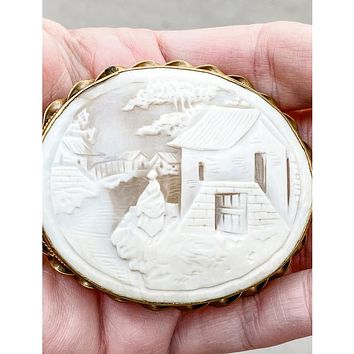 Vintage Victorian Shell Cameo Brooch Large Scenic