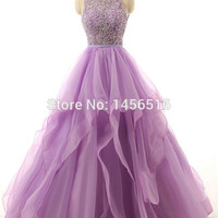 71111W Real Sample Lilac Ball gown Beaded Puffy Organza Special occasion long sexy prom dresses 2017 new arrival