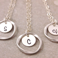 Personalized Eternity Necklace - bridesmaid gift set of 2 to 8, initial necklace, personalized jewelry, bridesmaid necklace, bridal jewelry