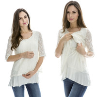 Breastfeeding Tops Maternity Nursing Clothes Pregnancy Wear Nursing Tops = 1946559748