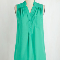 Long Sleeveless Girl about Scranton Tunic in Turquoise