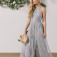 Petite Isabelle Grey Tulle Lace Halter Maxi Dress