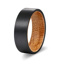 Black Flat Tungsten Carbide Ring with Whiskey Barrel Wood Sleeve Inlay