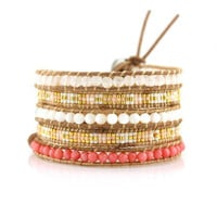 Coral Mix with Miyuki Glass Seed Beads on Natural Leather Wrap Bracelet