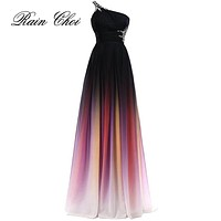 Sexy Chiffon A Line One Shoulder Formal Bridesmaid Dress Wedding party Gown Floor Length Long Bridesmaid dresses 2018
