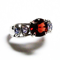 """Garnet, garnet ring, garnet accent ring, cocktail ring, red, blue, red ring, s 6 """"Spice of Life"""""""