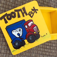 Hand painted / tooth fairy / trucks / boys room decor / tooth box / boys tooth fairy box / baby shower gifts / baby boy gifts / truck box