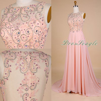A line pink chiffon beading long prom dress, Chiffon bridesmaid dress,Knee length pink chiffon prom dress,Beading long evening dress