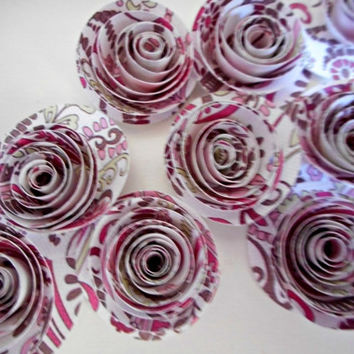 Pink Paper Flowers Rolled Paisley