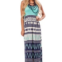 Grey and Navy Patterned Mint Accent Maxi Dress
