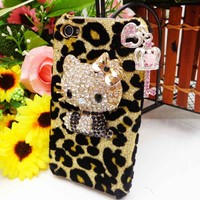 Q3 Bling Shiny 3D Black Hellokitty Leopard Heart Key Case Cover for iPhone 4 4S