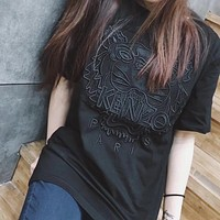 KENZO Embroidery Tiger Pure color Short sleeve T-shirt