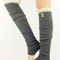 Women leg warmers GREY Boot Socks knit boot socks long socks grey knitted socks grey knit socks button socks off white cream crochet lace