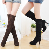 Women's Shoes Over the Knee Thigh Stretchy High Heels Boots Faux Suede Sexy