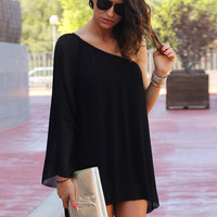 Black One Shoulder Long Sleeve Asymmetric Mini Dress