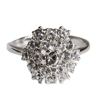Fashion Plaza Use Cubic Zirconia Multi-Crystal Engagement Spark Ring R48