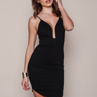 BLACK PLUNGE CURVED SIDES BODYCON DRESS